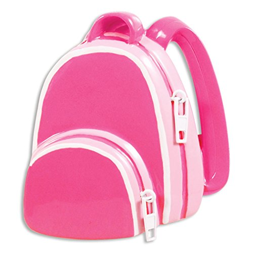 Personalized Girl School Backpack Christmas Ornament - First Day of Elementary Kindergarten Daycare Pink Kid Bag - Lunch Box Momentous Occasion 1st Education Student - Free Customization (Dark)