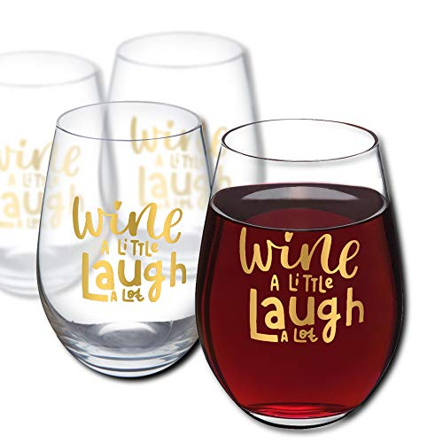 Amallino - Custom Red Wine Glass - Wine a Little, Laugh a Lot - Gold, 20- Ounce, Stemless Glasses, Fun and Personalized Gift Box, Set of 2