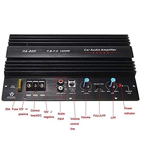 DULALA Amplificatore di Potenza Audio per Auto Potenti subwoofer per Basso Amplificatore PA80D 12V 1000W Mono