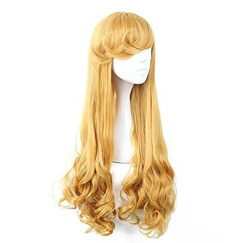Adult Sleeping Beauty Costumes (Princess Aurora Wig Adult Women Sleeping Beauty Cosplay Wigs Yellow)