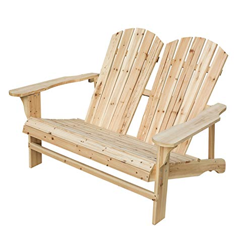(LOKATSE HOME Wooden Double Adirondack Chair Loveseat, Natural)