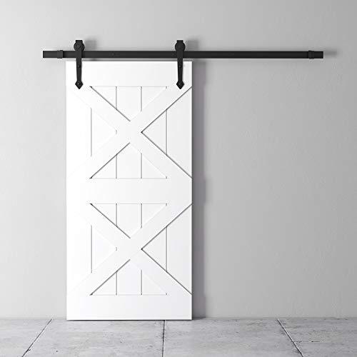 "Farmhouse Woodcraft 83"" White and Black 2-Stack Sliding Wood Barn Door"
