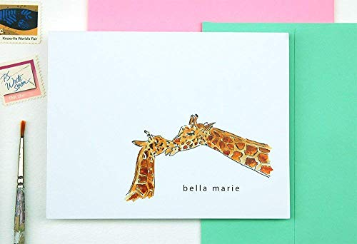 - Giraffe Personalized Stationery Set, Baby and Mama Zoo Animals Set of 10 Folded Notecards