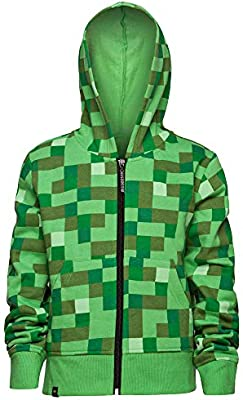 Minecraft Creeper Youth Hoodie Costume Jacket Boys Large Green New Dual Zipper