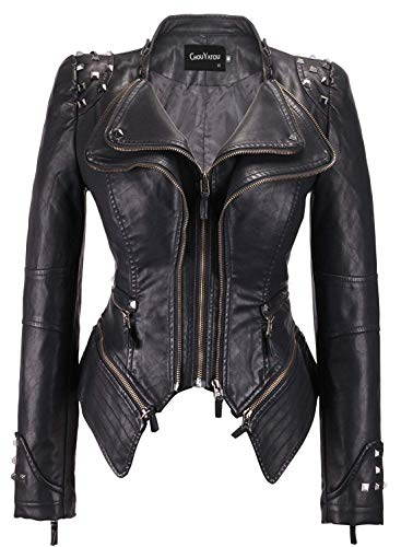 Women In The Gothic (chouyatou Women's Fashion Studded Perfectly Shaping Faux Leather Biker Jacket (Small,)