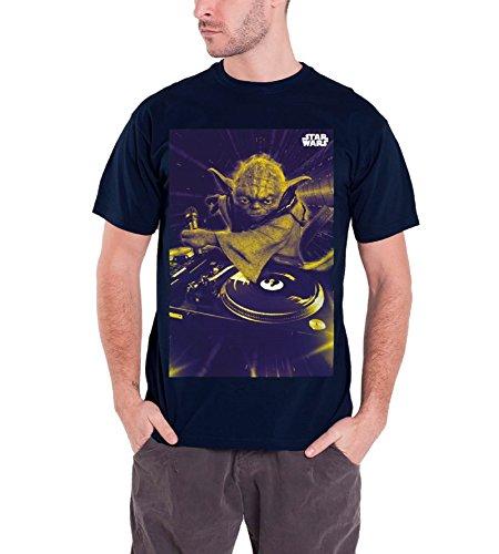 Star Wars DJ Yoda Official Mens New Blue T Shirt