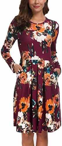 7096b9763f1 Kranda Women Long Short Sleeves Round Neck Pleated Loose Swing Floral Midi  Dress with Pockets