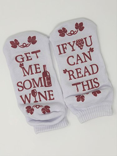 """IRVINS Wine Socks """"Bring Me Some Wine"""" / Funny Gift / Birthday Present / Holiday Gift Idea / Valentines Lovers Friends Family Wife Husband / Wine Lovers / Perfect Gift Any Occasion (WHITE)"""