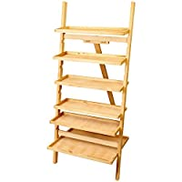 US Art Supply Paint Station Wooden Artist 6 Shelf Organizer Easel & Portable Shelving Unit
