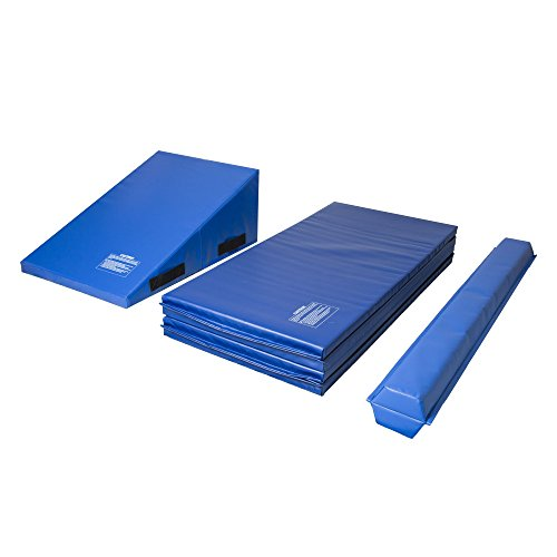 IncStores Toddler Gymnastics Kit Includes Incline Mat (14'x24'x33'), Folding Mat (4'x8'x2') and Balance Beam (9' x 2.5' x 7') Blue