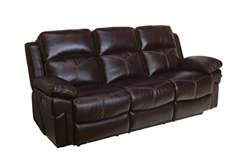 Common Home CH0093 Margo Power Reclining Sofa, Burgundy ()