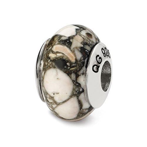 - 925 Sterling Silver Charm For Bracelet White Mosaic Magnesite Stone Bead From The Earth Fine Jewelry For Women Gift Set