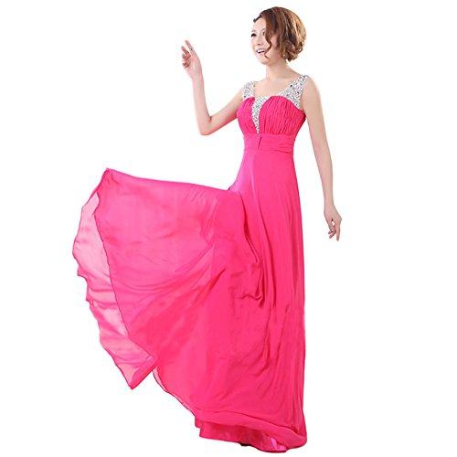 Partito Rosato Elegante Promenade Del Della Convenzionale Damigella Della Rosso D'onore Sera Abito Chiffon Da Sfera Lungo In Abito Di Drasawee 87qw8