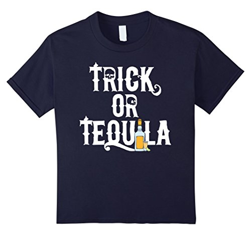 Tequila Shot Girl Costumes (Kids Funny Trick or Tequila T-Shirt for Halloween Lovers 12 Navy)