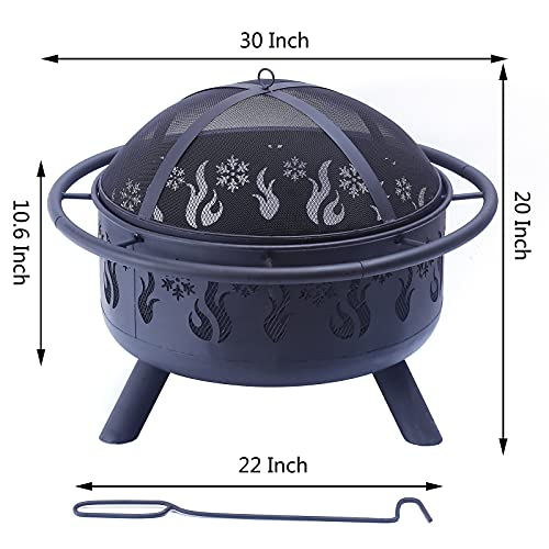 Outdoor Fire Pit - 30 Inch Round Bonfire Wood Burning Patio & Backyard Firepit for Outside with Cooking BBQ Grill Grate, Spark Screen, and Fireplace Poker