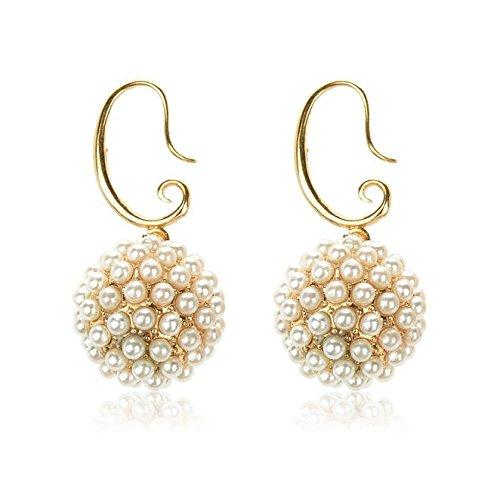 Qise Luxury Pearl Inlaid Fireball Spherical Drop Earrings (golden yellow drop earrings)