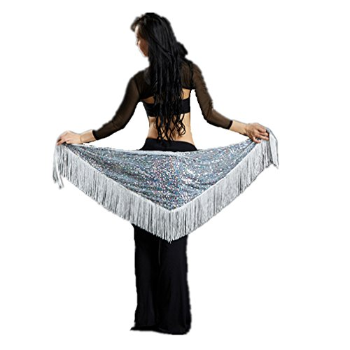 (2018 Handmade White Triangle Mermaid Fringed Hip Scarf Belt Covered With Tinsel -Mothers'Day Gift)