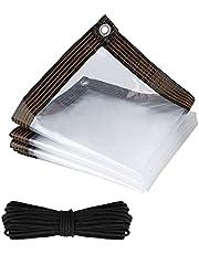 TSLBW Afdekzeil, beschermkap, waterdicht transparant zeil met ogen en touw, waterdicht afwasbaar, multifunctioneel zeil en zwart regendicht afdektouw, voor afdekking in de tuin meubels
