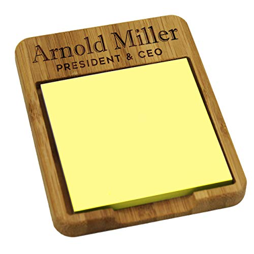 Custom Personalized Sticky Note Holder Dispenser - Wooden Business Desk Office Gifts for Men Women - Monogrammed for Free