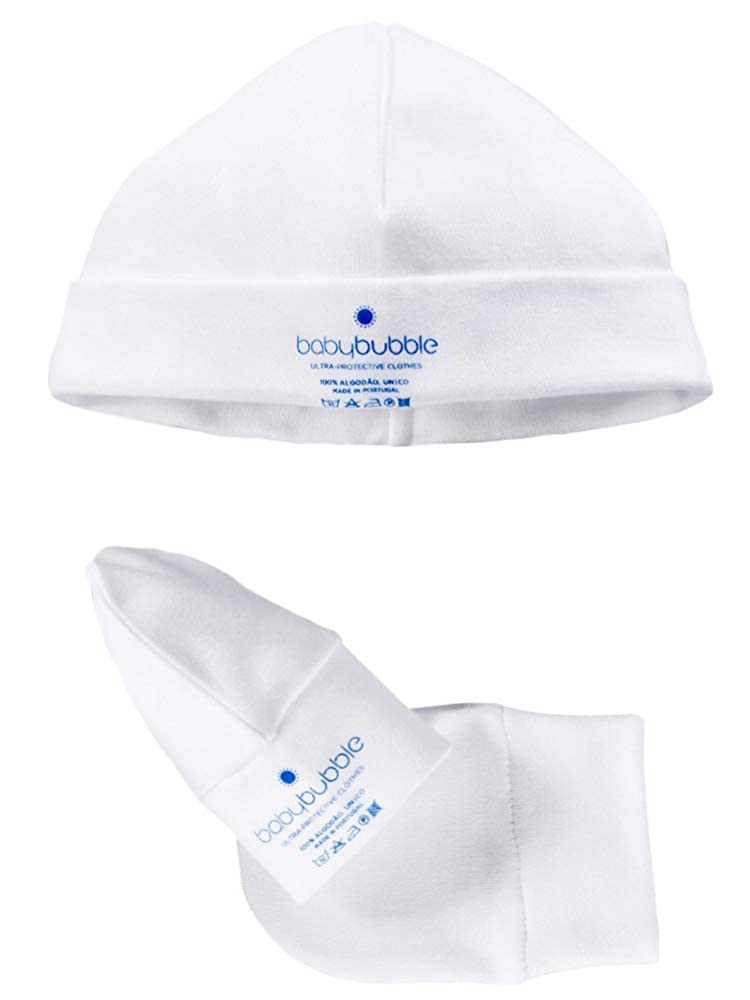 Senza coloranti Prodotto in Portogallo Senza Etichetta Babybubble Prematuri Abbigliamento Ipoallergenico Cappello e Guanti Ragazze e Ragazzi di Marca Portoghese Bianco 00 Mesi, 44-48cm