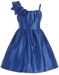KID Collection Girls Pleated Satin Dress 7 Royal (kid 1203)