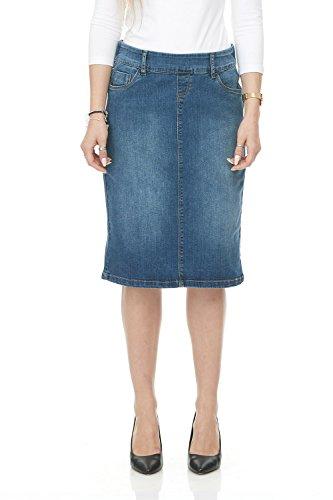 Jean Length Knee Skirt (Esteez Jean Skirt for Women Knee Length Manhattan Blue 14)