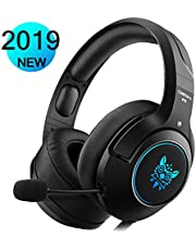 PS4 Gaming Headset with Colourful LED Light, Xbox One PC Stereo Headphones, in-Line Noise Cancelling for PC, Laptop, Mac, Windows, Nintendo Switch