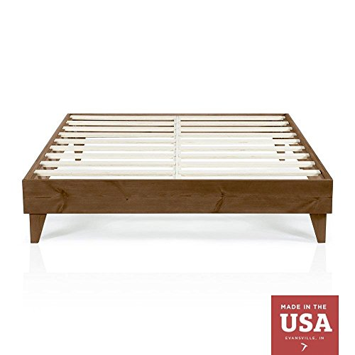 Wood Platform Bed Frame | California King Size | Cal King | Modern Wooden Design | Solid Wood | Made in U.S. | Easy Assembly | Walnut