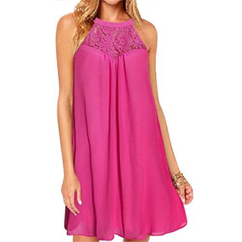 Vanberfia Women's Sleeveless Lace Patchwork Loose Casual Mini Chiffon Dress (M, 6223)