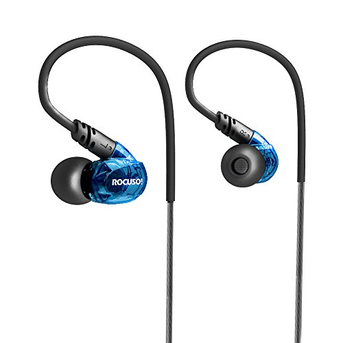 ROCUSO Earbud Headphones with Microphone, Deep Bass and Stereo, Sweatproof Waterproof IPX5 In Ear Sports Earphones for Running/ Gym/ Workout, Universal-Fit, Blue