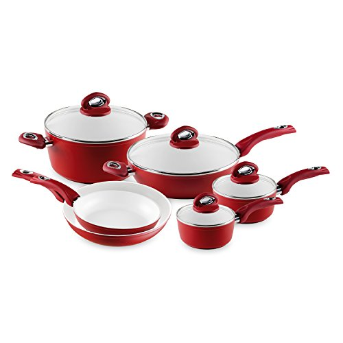 Bialetti Aeternum Red 7272 10 Piece Cookware Set
