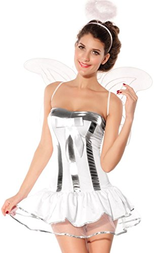 [Booty Gal Women's Sexy Angel Dress With Butterfly Wing Costume Set For Role Play] (Homemade Scary Clown Halloween Costumes)