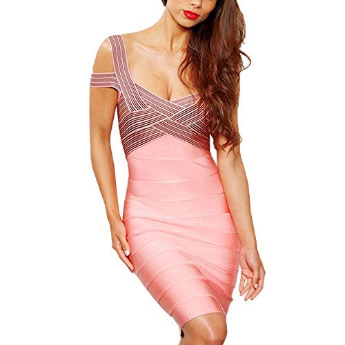 HLBandage Spaghetti Strap Jacquard Off The Shoulder Rayon Bandage Dress Rosa