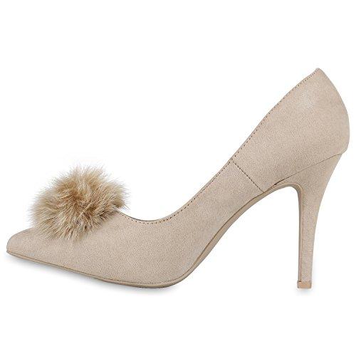 Stiefelparadies Spitze Damen Pumps Satinoptik Pailletten High Heels Schuhe Flandell Creme Bommel