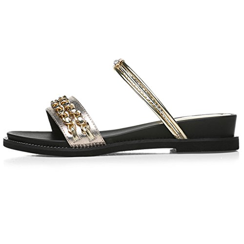 Abierta EU39 Desgaste Dos Femeninos Sandalias Superior PU Verano De Estudiante Tamaño Zapatillas Planos UK6 Punta Oro Zapatos Zapatos Zapatos Color CN39 qUOdU