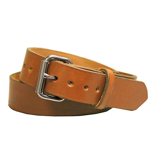Exos Gun Belt, English Bridle Leather, 14 Ounce - Stainless Steel Hardware - Handmade in The USA ()