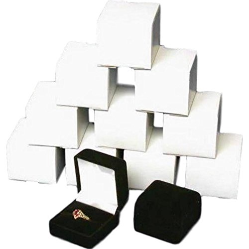 888 Display 1 X 12 Black Flocked Ring Gift Boxes Jewelry Display (Black Velvet Flocked Jewelry Display)