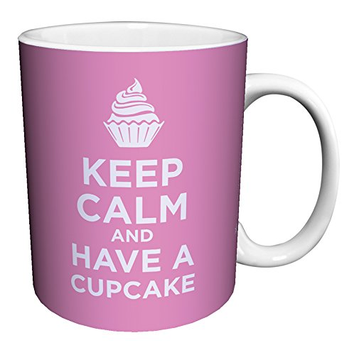 Keep Calm and Eat a Cupcake Pink Novelty Food Humor Quote Ceramic Gift Coffee (Tea, Cocoa) 11 Oz. Mug