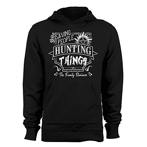 GEEK TEEZ Saving People, Hunting Things Men's Hoodie Black Medium (Sweatshirt Mens Hoodie People)
