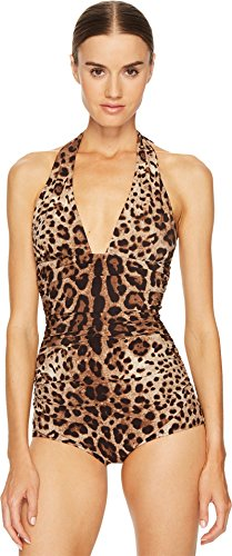 Dolce & Gabbana Women's Cheetah Tie Neck Maillot Swim One-Piece Beige - Suits Dolce Womens Gabbana And