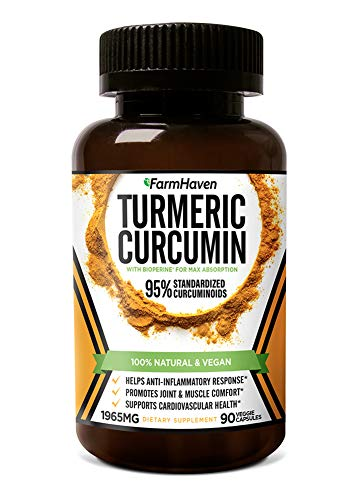 (Turmeric Curcumin with BioPerine Black Pepper & 95% Curcuminoids, 1965mg, Maximum Absorption for Joint Support & Healthy Inflammatory Response, Non-GMO Turmeric Capsules, Made in USA - 90 Veg Caps)