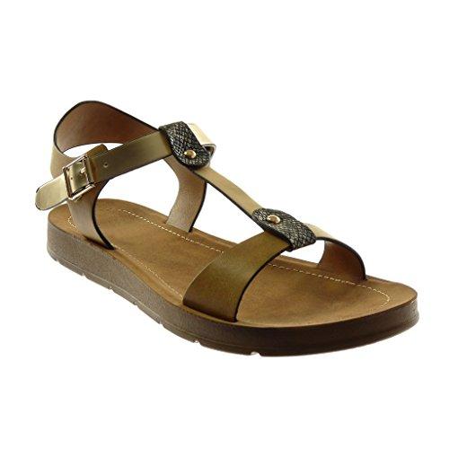 Angkorly Damen Schuhe Sandalen - Knöchelriemen - T-Spange - Schlangenhaut - String Tanga - Nieten - Besetzt Keilabsatz 2 cm Khaki