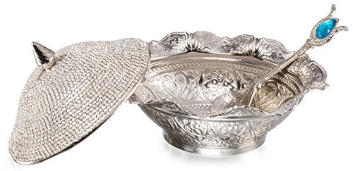 Swarovski Crystal Coated Handmade Brass Sugar Chocolate Candy Bowl Serving Dish (Silver) by CopperBull