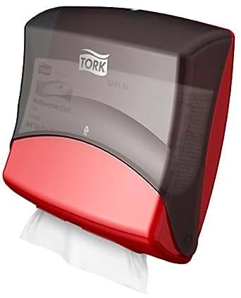Tork - Dispensador de papel de secado plegado, color rojo y negro