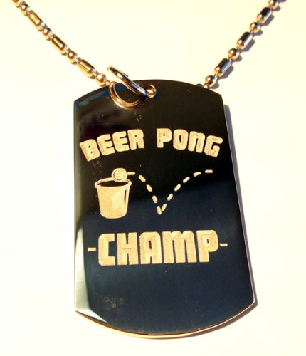 Beer Pong College Drinking Game Champ Champion Logo Symbol - Military Dog Tag Luggage Tag Key Chain Metal Chain Necklace