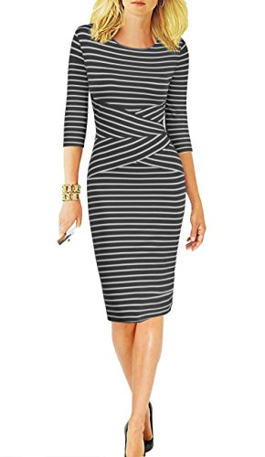 Party Wear Dresses - REPHYLLIS Women 3/4 Sleeve Striped Wear to Work Business Cocktail Party Summer Pencil Dress Black S