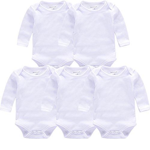 2 Piece Onesie Short (Baby Bodysuit White Unisex Short/Long Sleeve Onesies 100% Cotton Gift Newborn(5PL 0-3M))