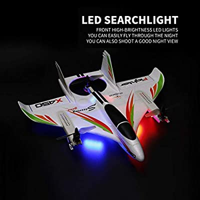 Outeck Imported RC Airplane RTF with Safe Technology, 6CH 3D/6G RC Vertical Takeoff LED Glider Fixed Wing Aircraft, Super Easy to Fly for Beginners 14+ Years Old Kids Adult (X450)
