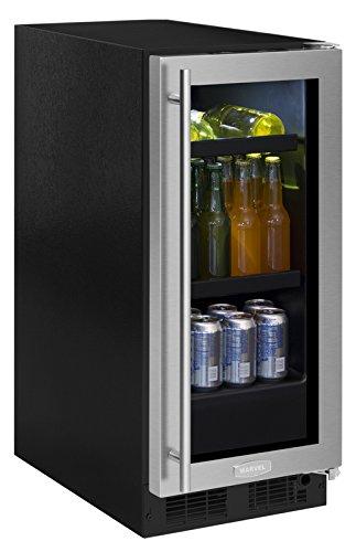 """Marvel 15"""" Beverage Center, stainless steel frame glass door, right hinge"""