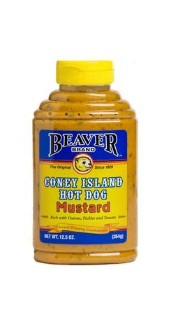 Hot Dog Mustard - Beaver Brand Coney Island Hot Dog Mustard, 12.5-Ounce Squeezable Bottles (Pack of 6)